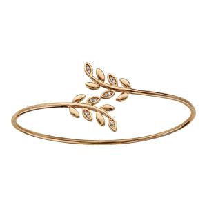Bracelet en plaqué or jonc feuillage lisse et oxydes blancs - Vue 1