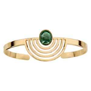 Bracelet en plaqué or jonc motif égyptien avec pierre malachite véritable - Vue 1