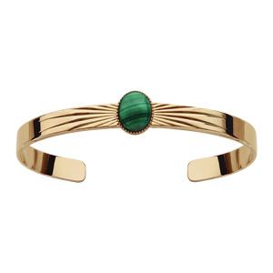 Bracelet en plaqué or jonc ouvert avec pierre malachite véritable - Vue 1