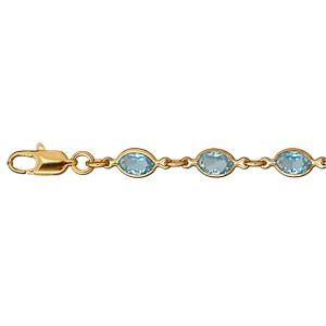 Bracelet en plaqué or maillons ornés oxydes bleus en forme de navette - longueur 16+3cm - Vue 1