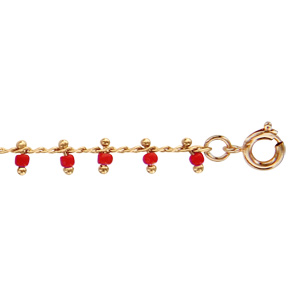 Bracelet en plaqué or pampilles boules corail 16cm + 2cm - Vue 1