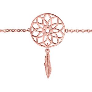 Bracelet en plaqué or rose chaîne avec 1 attrape rêve avec 1 plume suspendue au milieu - longueur 16cm + 2cm de rallonge - Vue 1