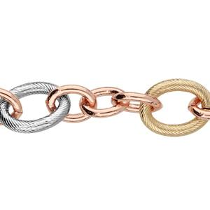 Bracelet en plaqué or tricolore avec grosses mailles ovales ciselées 18+3cm - Vue 1