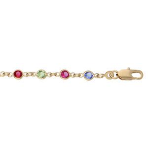 Bracelet en plaqué or tutti frutti maillons ornés oxydes multi couleurs tendre 16+3cm - Vue 1