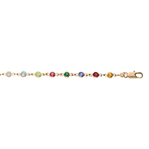 Bracelet en plaqué or tutti frutti maillons ornés oxydes multi couleurs vif 16+3cm - Vue 1