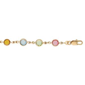Bracelet en plaqué or tutti frutti rond maillons ornés oxydes multi couleurs pastels 16+3cm - Vue 1