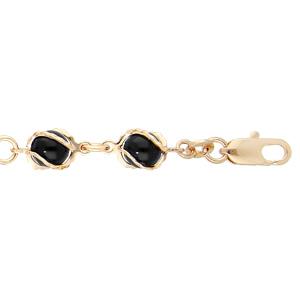 Bracelet en plaqué oravec perles noires 16+3cm - Vue 1