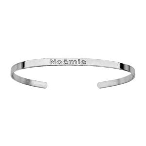3e704a81c3af7 Bracelet esclave en argent rhodié ruban ouvert à graver - largeur 3mm et  taille 60mm X 47mm