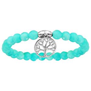 Bracelet extansible en pierres naturelles d\'agate bleu ciel et arbre de vie en argent rhodié - Vue 1