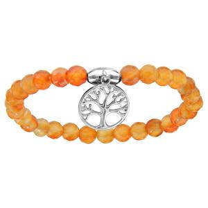 Bracelet extansible en pierres naturelles d\'agate orange et arbre de vie en argent rhodié - Vue 1