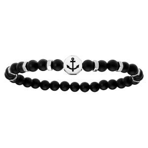 Bracelet extensible avec perles en onyx véritable et motif ancre - Vue 1