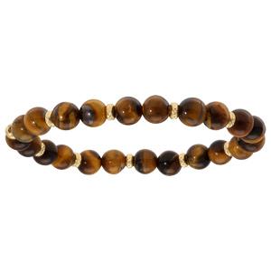 Bracelet extensible en argent et dorure jaune perles oeil de tigre - Vue 1