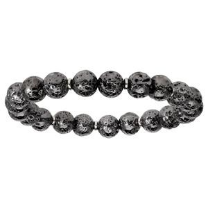 Bracelet extensible en argent rhodié avec pierres de lave galvanisées - Vue 1