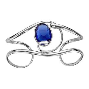 Bracelet finition argentée rhodié manchette volute verre taillé bleu foncé - Vue 1