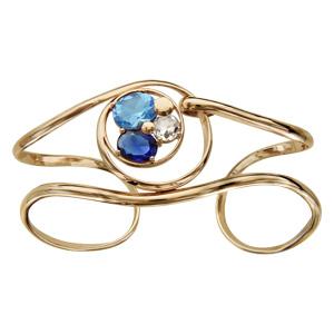 Bracelet finition dorée manchette spirale verres taillés main bleus - Vue 1