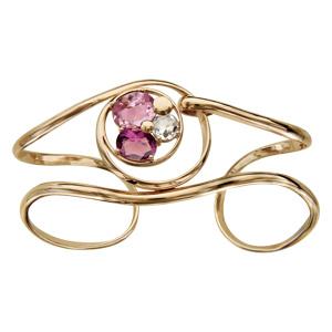 Bracelet finition dorée manchette spirale verres taillés main rose/violet - Vue 1