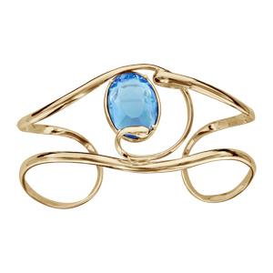 Bracelet finition doree manchette volute verre taillé main bleu clair - Vue 1