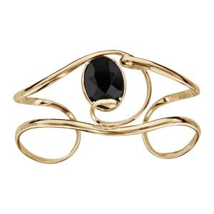 Bracelet finition dorée manchette volute verre taillé noir - Vue 1