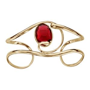 Bracelet finition dorée manchette volute verre taillé rouge - Vue 1