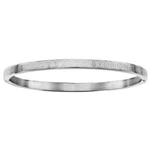 Bracelet jonc articulé en acier avec motifs spirales - diamètre 60mm
