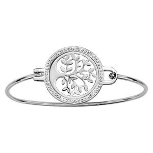 Bracelet jonc en acier avec cercle en résine orné de strass blancs et arbre de vie découpé au milieu