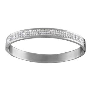 Bracelet jonc en acier et empierré avec bande d\'oxydes blancs - Vue 1