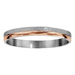 Bracelet jonc en acier et PVD rose articulé 2 bandes lisses et granités - Vue 1
