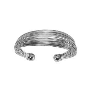Bracelet jonc en acier ouvert avec plusieurs fils et boules lisses aux extrémités - Vue 1