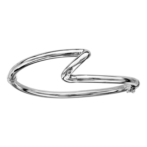Bracelet jonc en argent rhodié articulé vague diamètre 60x55mm - Vue 1