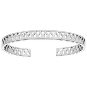 Bracelet jonc en argent rhodié avec motif ajouré - Vue 1