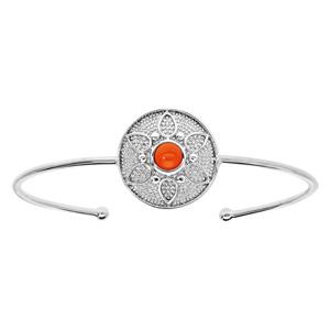 Bracelet jonc en argent rhodié avec pastille ronde motif fleur et pierre couleur corail - Vue 1