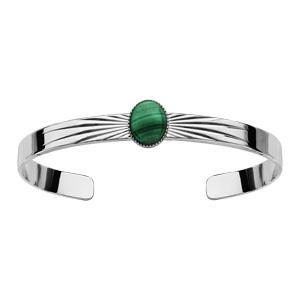 Bracelet jonc en argent rhodié avec pierre malachite véritable - Vue 1