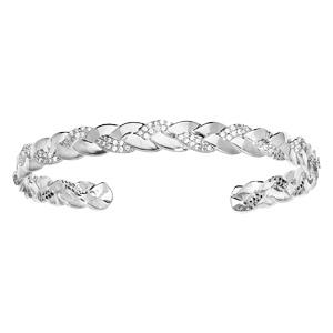 Bracelet jonc en argent rhodié avec torsade et oxydes blancs sertis - Vue 1