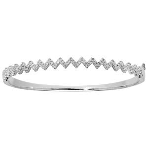 vente chaude en ligne 4538d f551d Bracelet jonc en argent rhodié en forme zig zag et oxydes blancs sertis