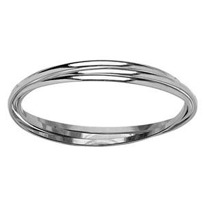 Bracelet jonc en argent trois anneaux - largeur 4mm et diamètre 66mm - Vue 1