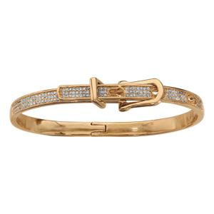 Bracelet jonc en plaqué or articulé motif ceinture oxydes blancs sertis - Vue 1
