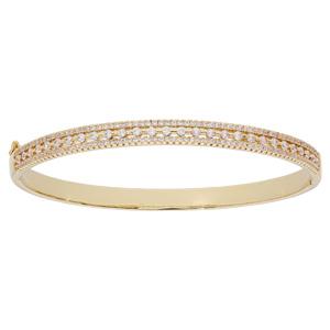 Bracelet jonc en plaqué or avec oxydes blancs sertis - Vue 1