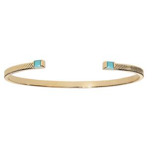 Bracelet jonc en plaqué or diamanté avec pierre carree couleur turquoise aux extrémités - Vue 1