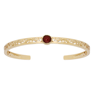 Bracelet jonc en plaqué or ethnique filigrane avec pierre ronde rouge - Vue 1