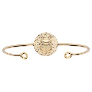 Bracelet jonc en plaqué or ethnique motif antique scarabée - Vue 1