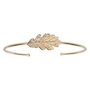 Bracelet jonc en plaqué or feuille de chêne 25mm - Vue 1