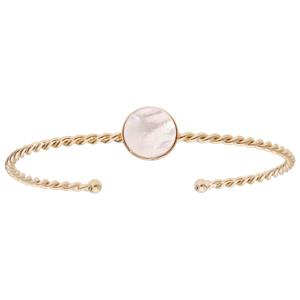 Bracelet jonc en plaqué or fil torsadé et pierre Nacre véritable - Vue 1