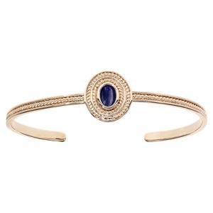 Bracelet jonc en plaqué or pastille avec pierre ovale Lapis Lazuli véritable - Vue 1