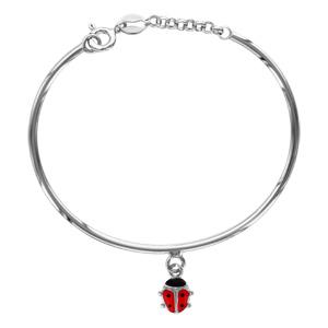 Bracelet jonc pour enfant en argent rhodié avec pampille coccinelle et petite chaînette de rallonge