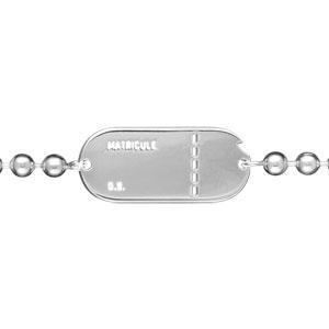 Bracelet maille boules argent plaque matricule homme - 22cm réglable 20 - Vue 1