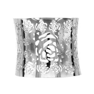 Bracelet manchette en acier avec fleurs ajourées - Vue 1