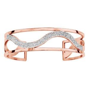 Bracelet manchette en acier et PVD rose bords droits et 1 vague glitter au milieu - Vue 1