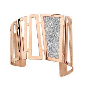 Bracelet manchette en acier et PVD rose formes trapèze ajourés dont 1 avec granité gris dedans - Vue 1