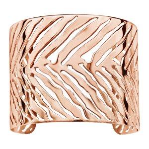 Bracelet manchette en acier et PVD rose tigré ajouré - Vue 1