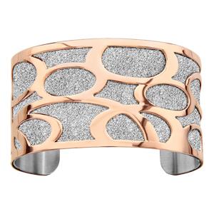 Bracelet manchette en acier granité avec bulles en PVD rose - Vue 1